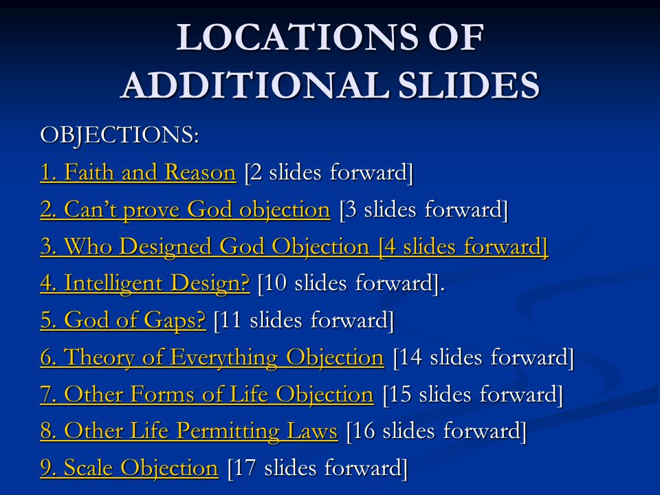 LOCATIONS OF ADDITIONAL SLIDES