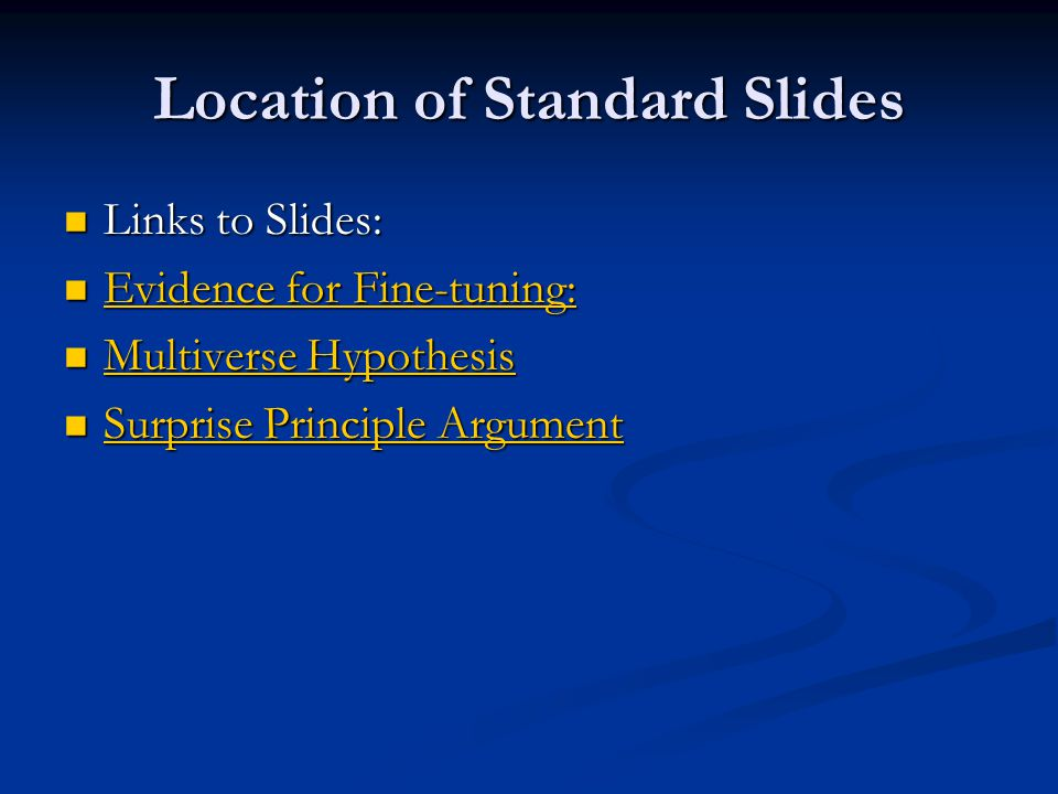 Location of Standard Slides