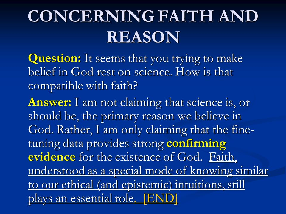 CONCERNING FAITH AND REASON