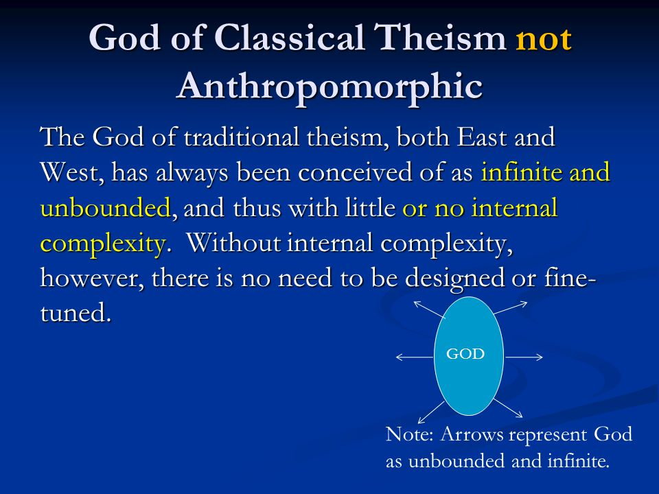 God of Classical Theism not Anthropomorphic