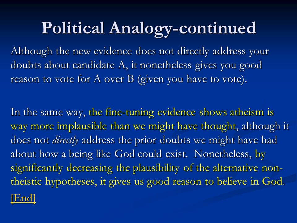 Political Analogy-continued