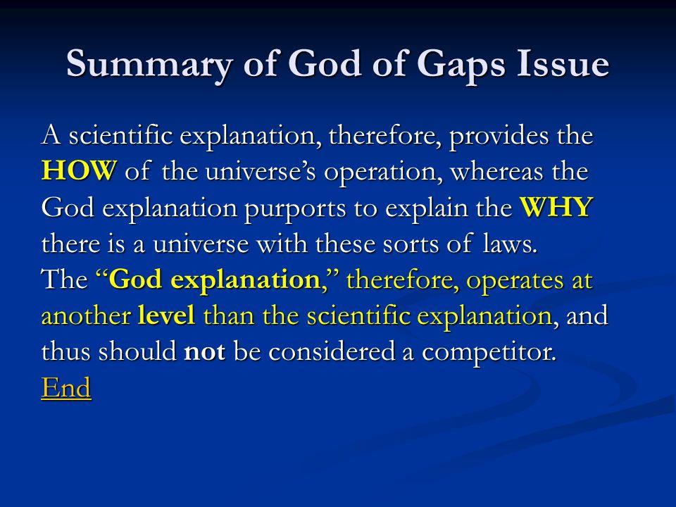 Summary of God of Gaps Issue