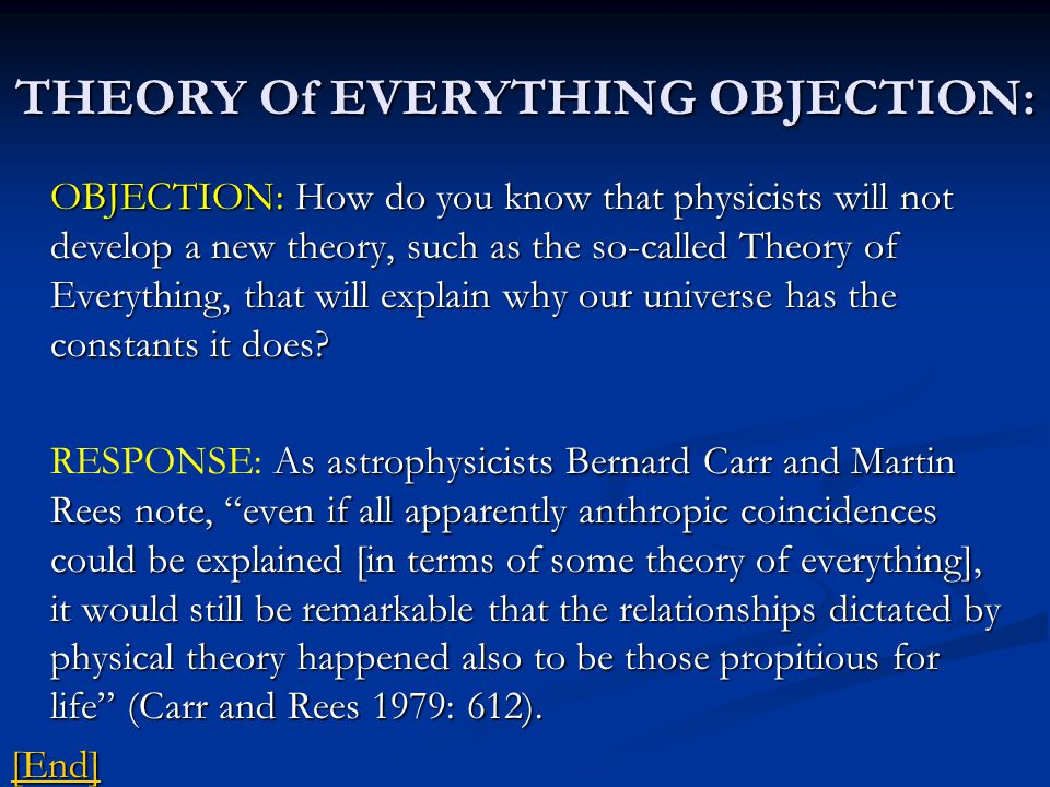 THEORY Of EVERYTHING OBJECTION: