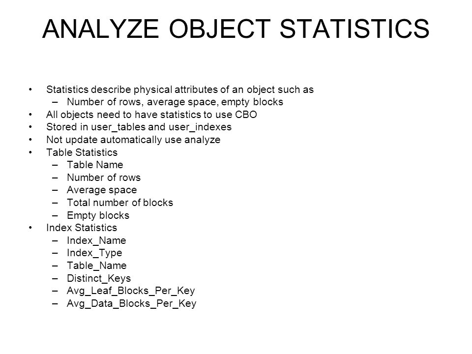 ANALYZE OBJECT STATISTICS