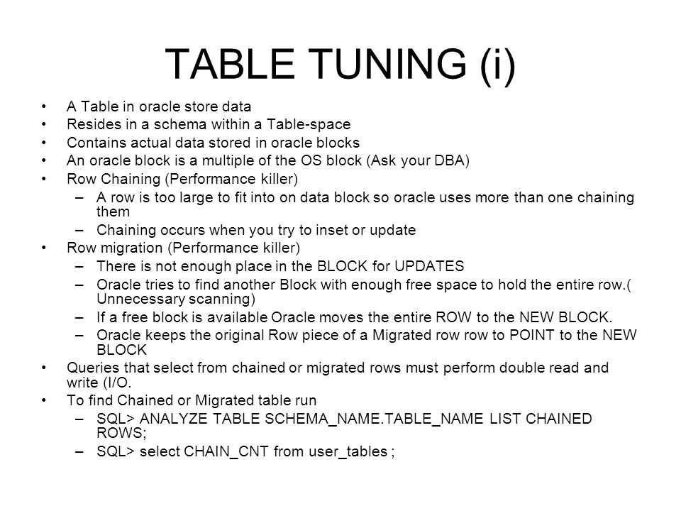 TABLE TUNING (i) A Table in oracle store data