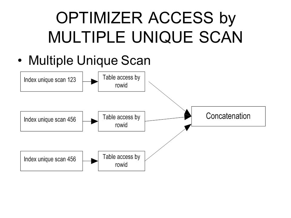 OPTIMIZER ACCESS by MULTIPLE UNIQUE SCAN