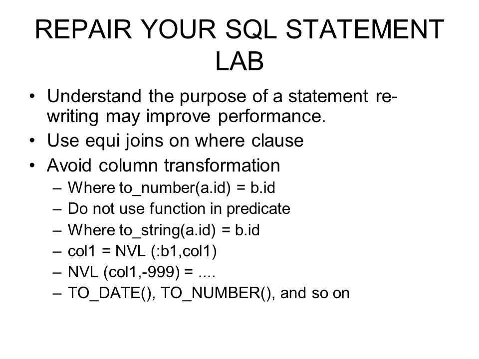 REPAIR YOUR SQL STATEMENT LAB
