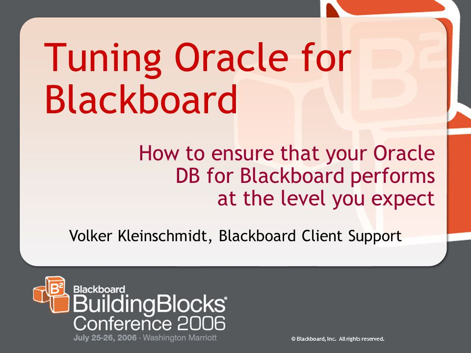 Tuning Oracle for Blackboard