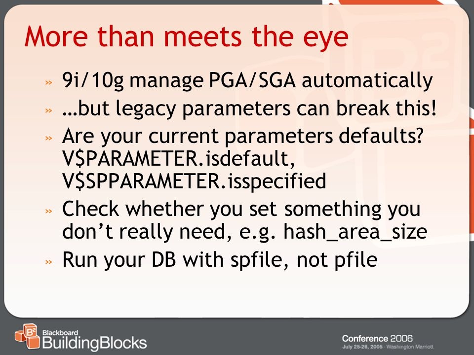 More than meets the eye 9i/10g manage PGA/SGA automatically