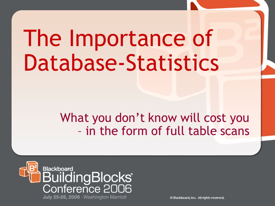 The Importance of Database-Statistics