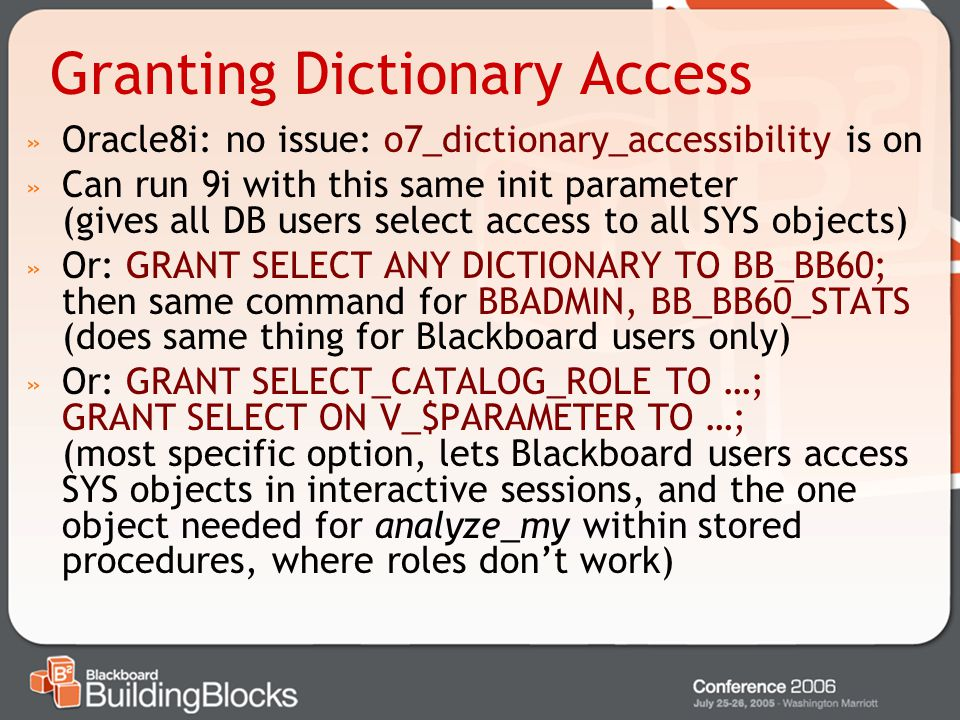 Granting Dictionary Access