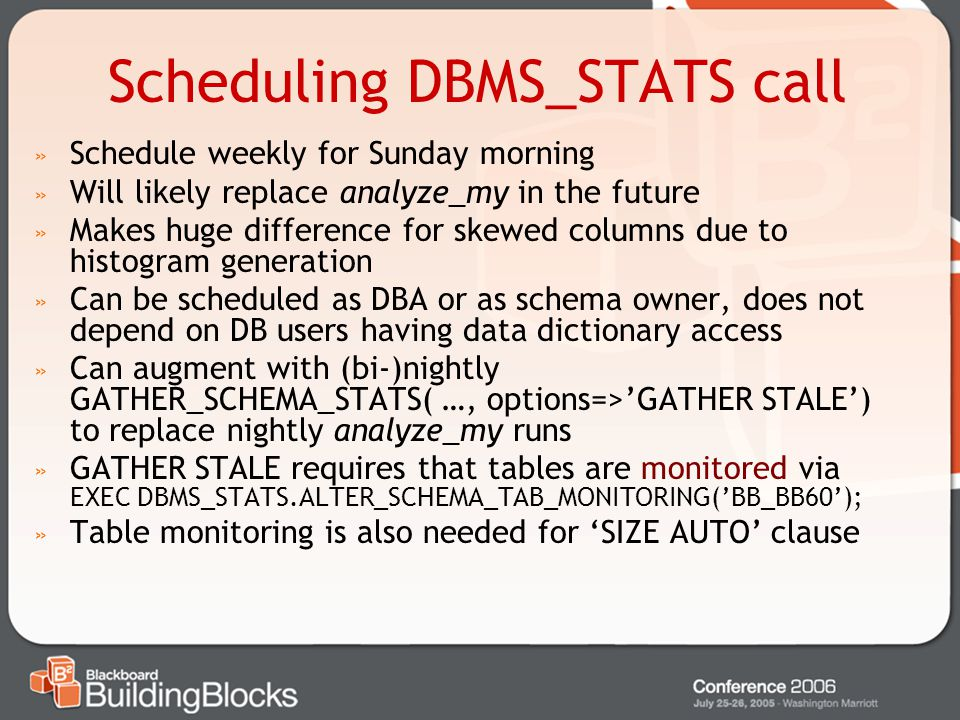 Scheduling DBMS_STATS call