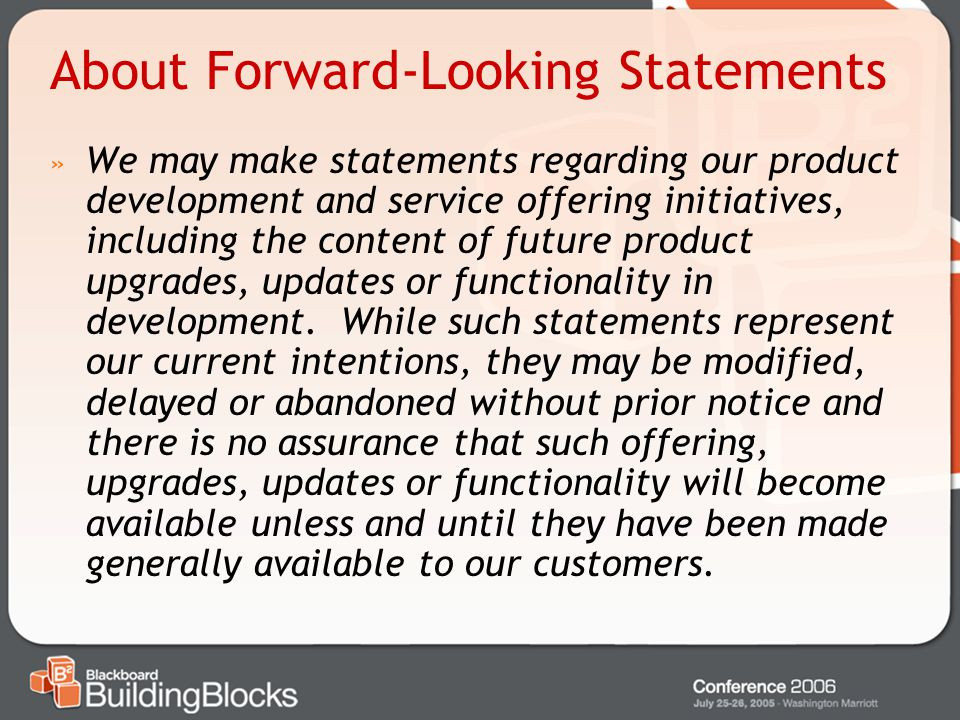 About Forward-Looking Statements