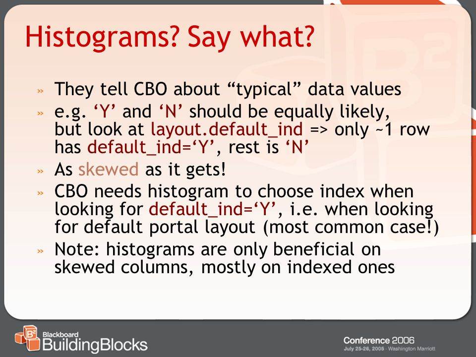 Histograms Say what They tell CBO about typical data values
