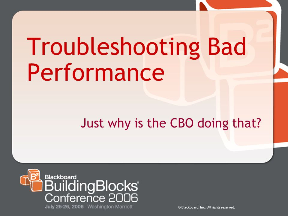 Troubleshooting Bad Performance