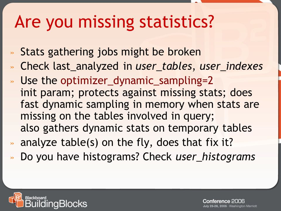 Are you missing statistics
