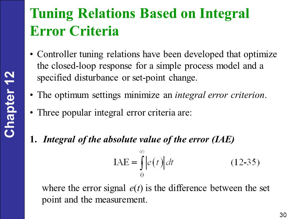 Tuning Relations Based on Integral Error Criteria