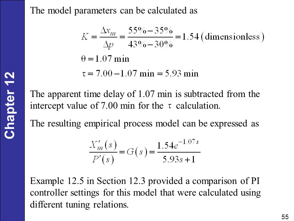 The model parameters can be calculated as