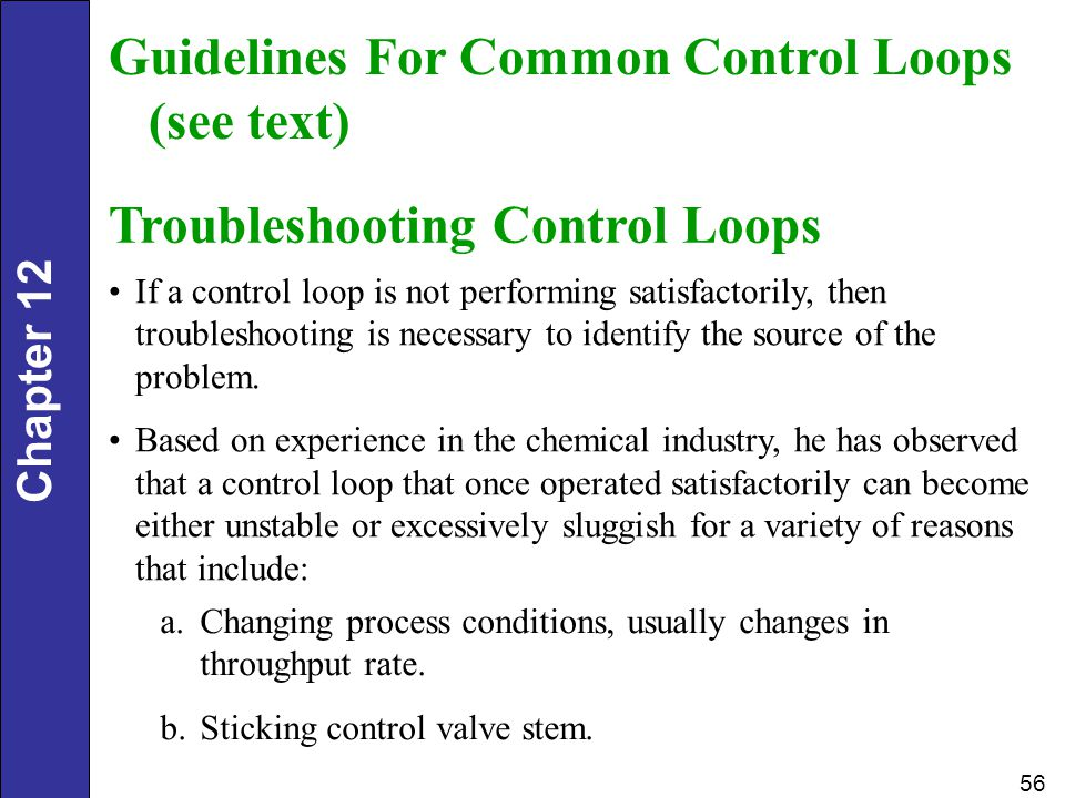 Guidelines For Common Control Loops (see text)