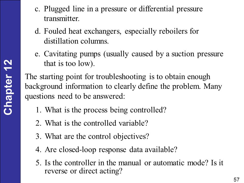 Plugged line in a pressure or differential pressure transmitter.