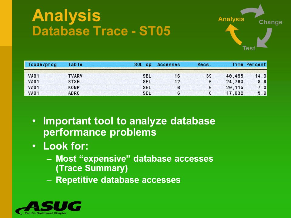 Analysis Database Trace - ST05