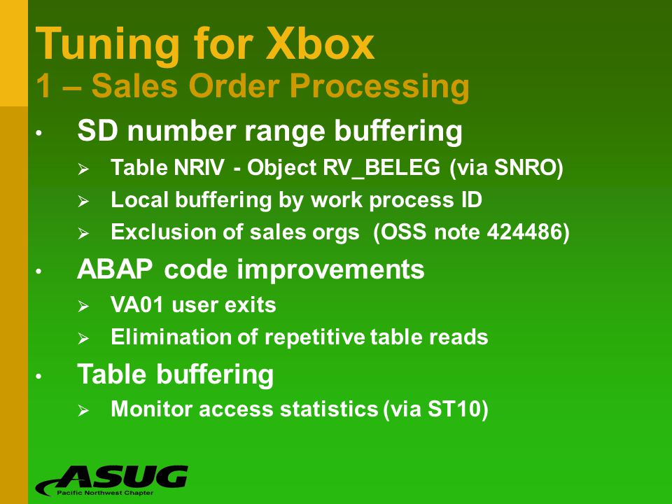 Tuning for Xbox 1 – Sales Order Processing SD number range buffering