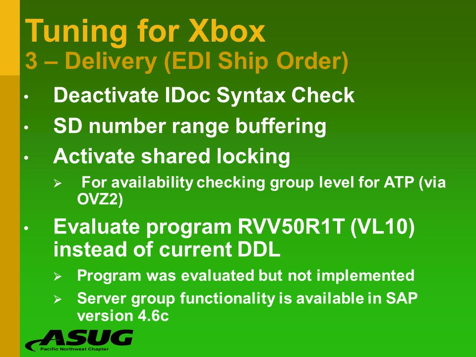 Tuning for Xbox 3 – Delivery (EDI Ship Order)