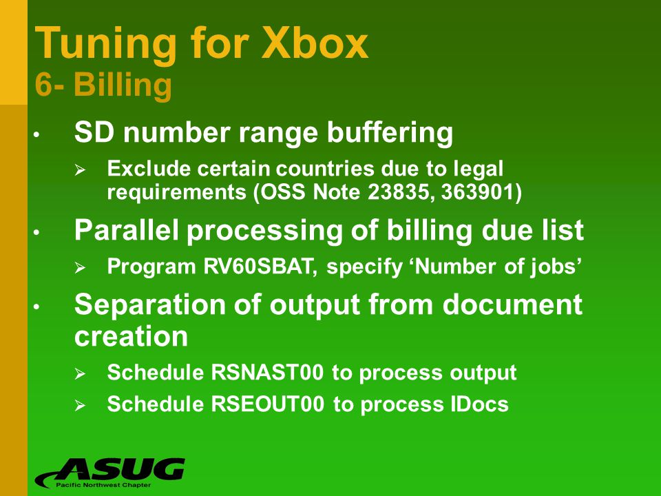 Tuning for Xbox 6- Billing SD number range buffering