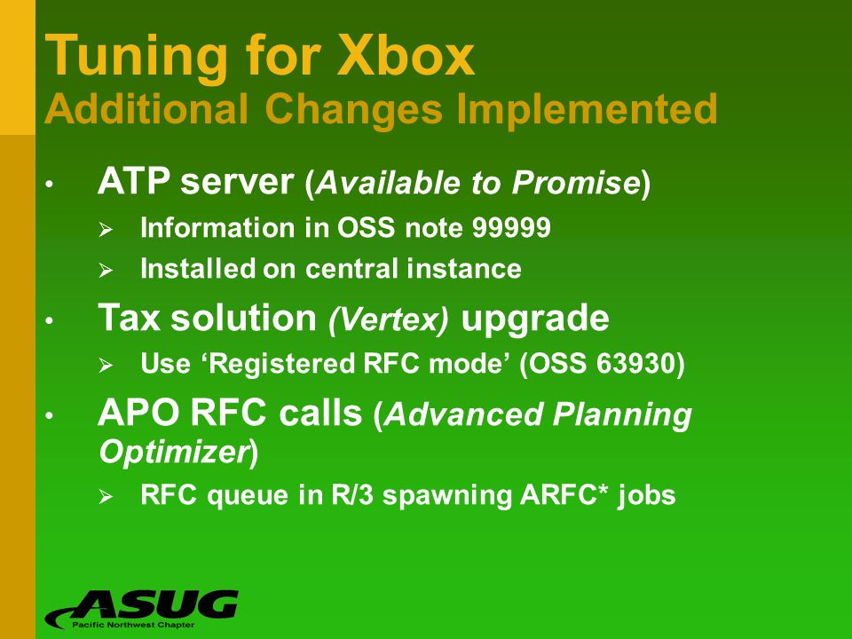 Tuning for Xbox Additional Changes Implemented
