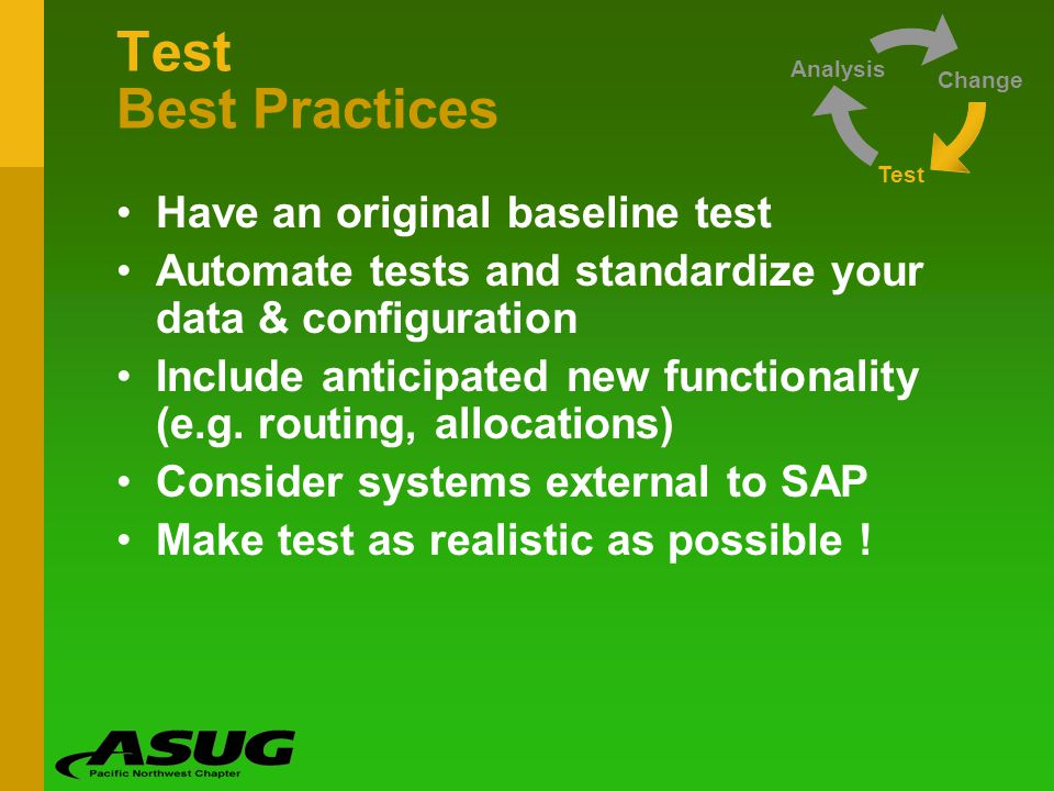 Test Best Practices Have an original baseline test