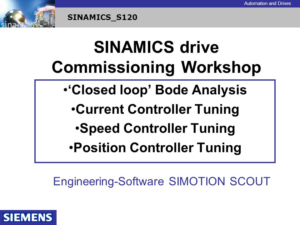 SINAMICS drive Commissioning Workshop