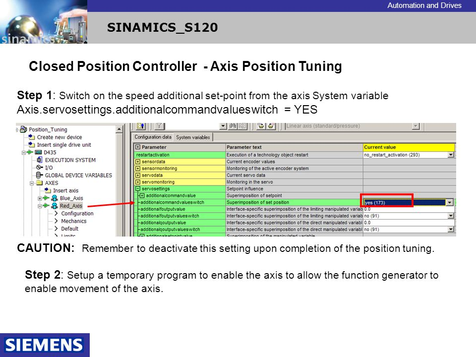 Closed Position Controller - Axis Position Tuning