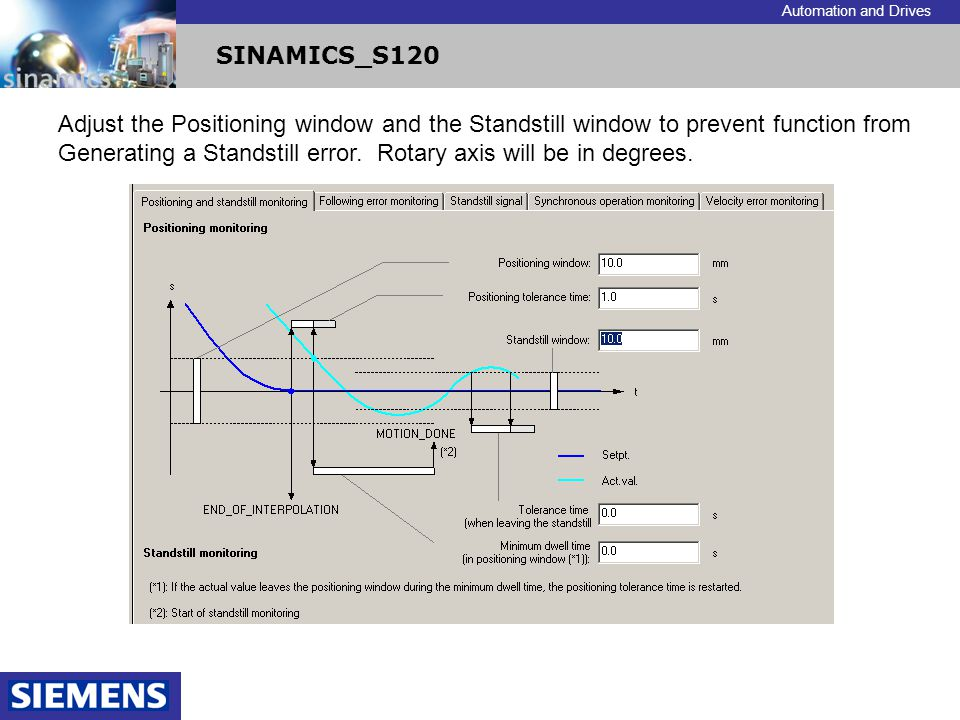 Adjust the Positioning window and the Standstill window to prevent function from