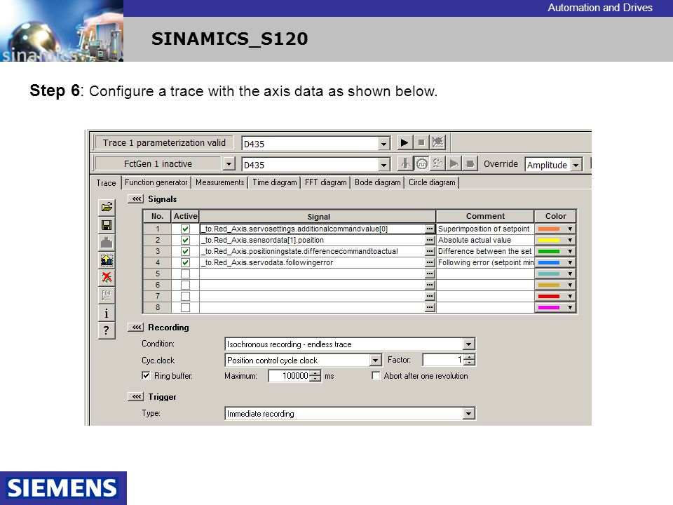 Step 6: Configure a trace with the axis data as shown below.