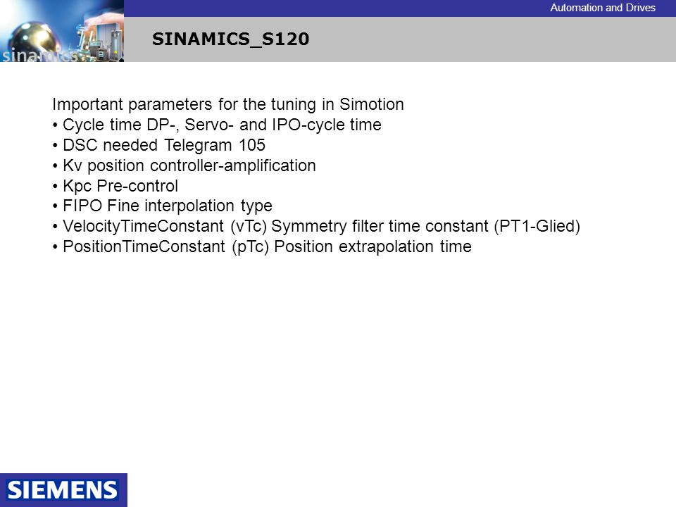 Important parameters for the tuning in Simotion