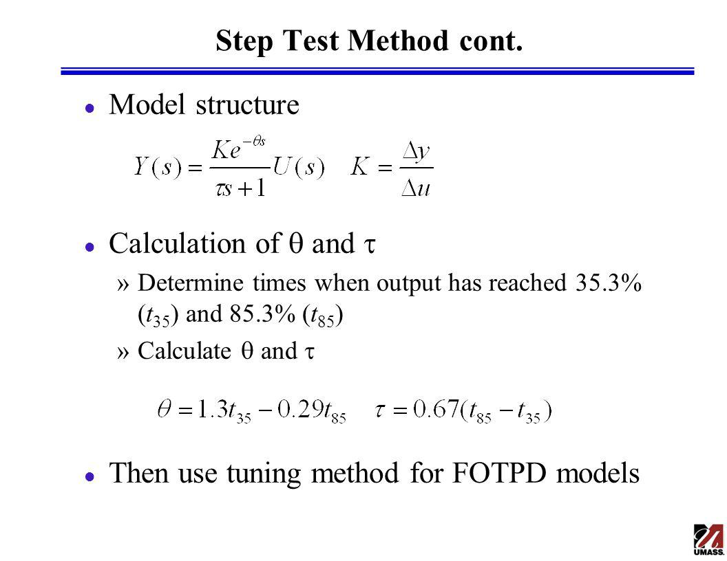 Step Test Method cont. Model structure Calculation of q and t