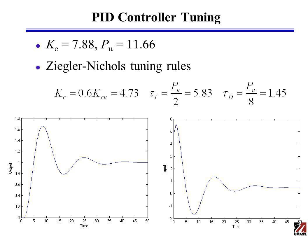 PID Controller Tuning Kc = 7.88, Pu = 11.66