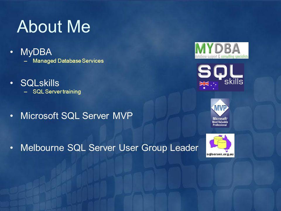 About Me MyDBA SQLskills Microsoft SQL Server MVP