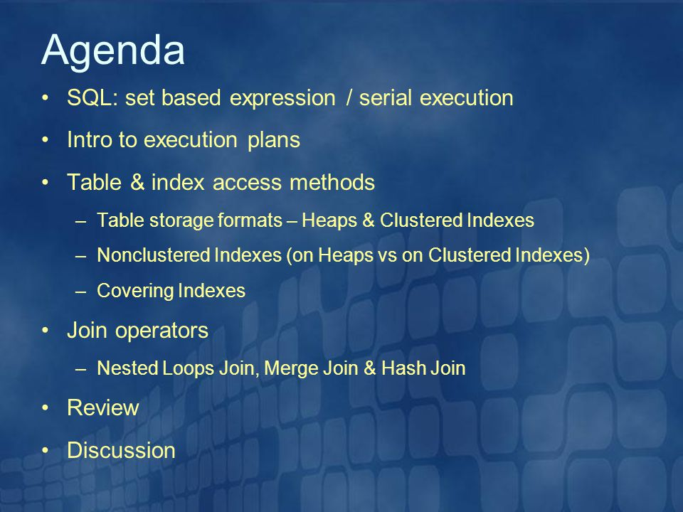 Agenda SQL: set based expression / serial execution