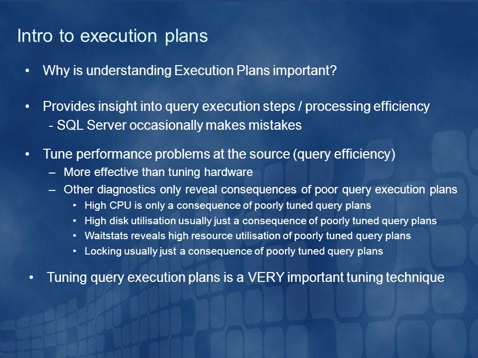 Intro to execution plans