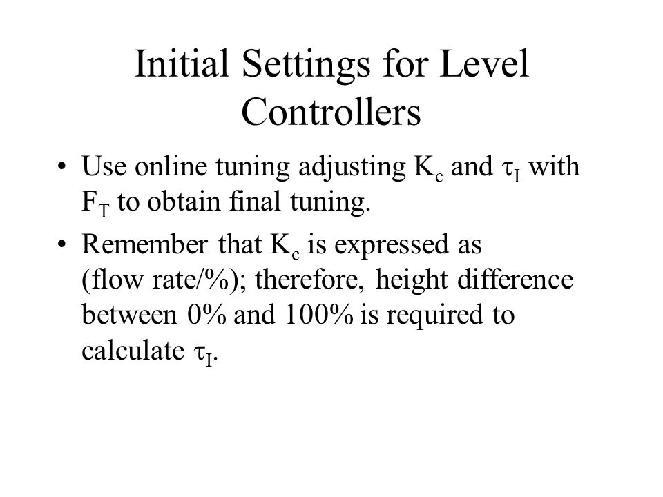 Initial Settings for Level Controllers