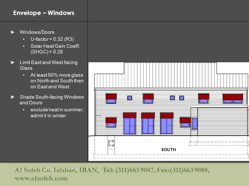 Envelope – Windows Windows/Doors. U-factor = 0.32 (R3) Solar Heat Gain Coeff. (SHGC) = Limit East and West facing Glass.