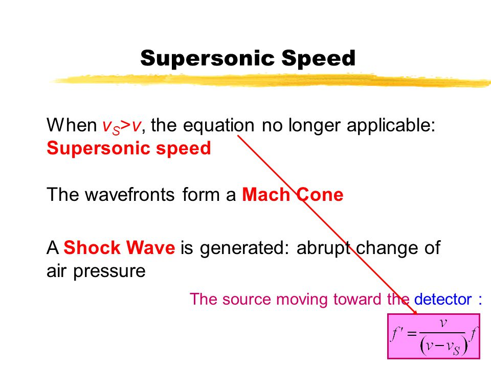 Supersonic Speed When vS>v, the equation no longer applicable: Supersonic speed. The wavefronts form a Mach Cone.