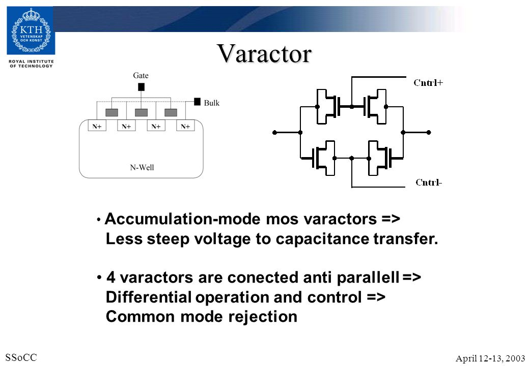 Varactor Less steep voltage to capacitance transfer.