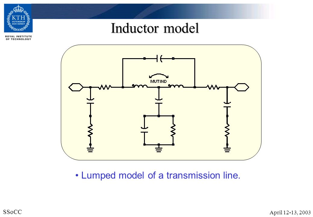 Inductor model Lumped model of a transmission line.