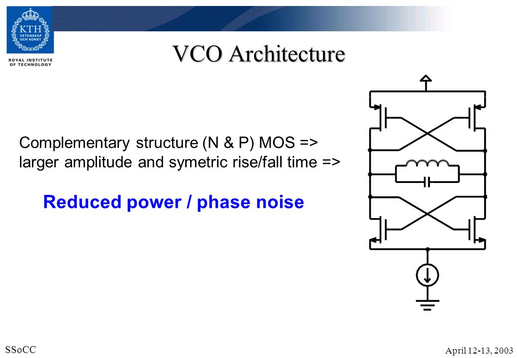 VCO Architecture Complementary structure (N & P) MOS =>
