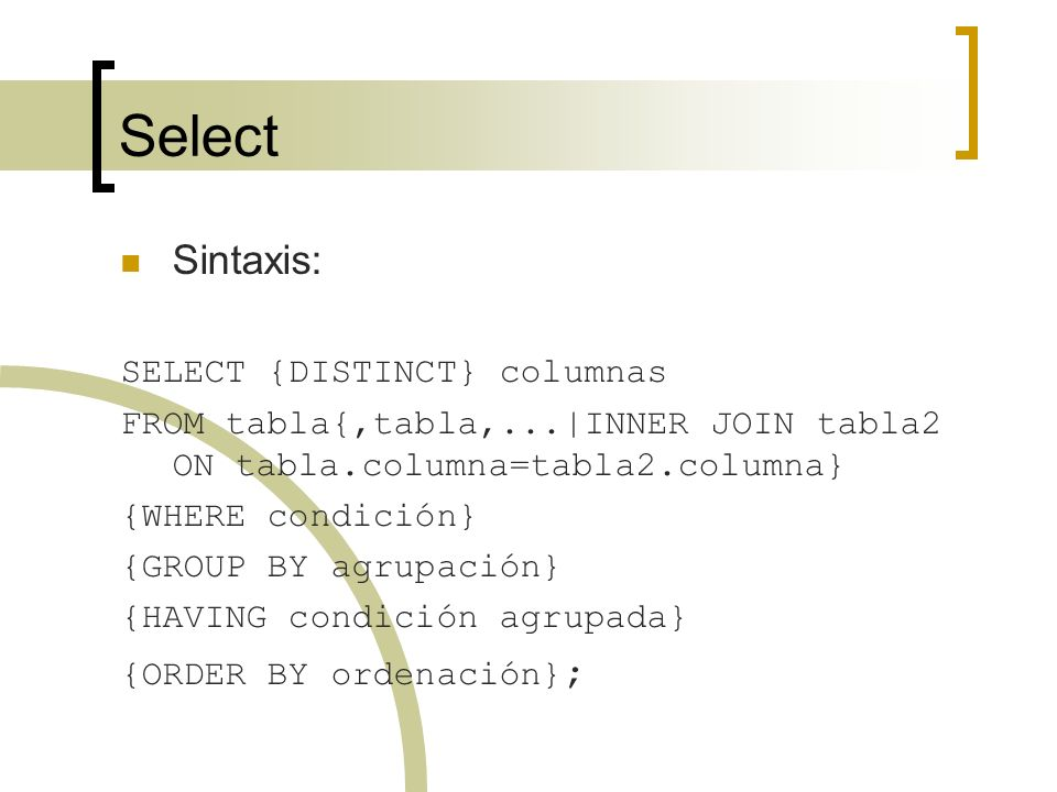 Select Sintaxis: SELECT {DISTINCT} columnas