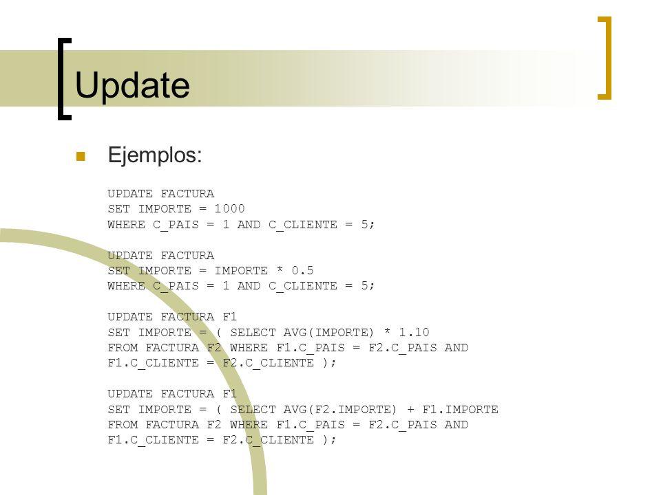 Update Ejemplos: UPDATE FACTURA SET IMPORTE = 1000