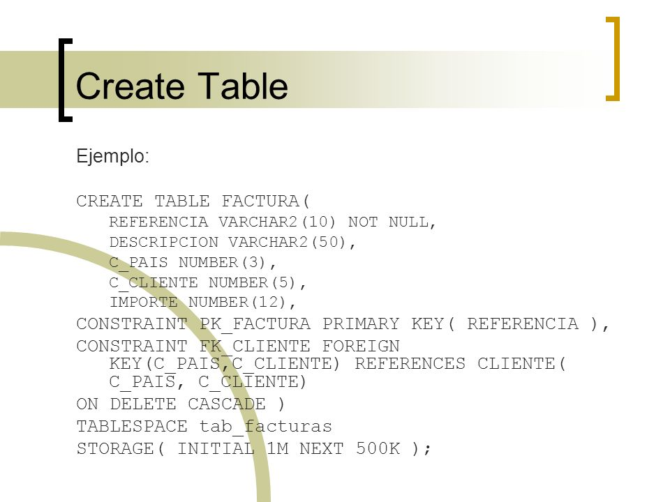 Create Table Ejemplo: CREATE TABLE FACTURA(