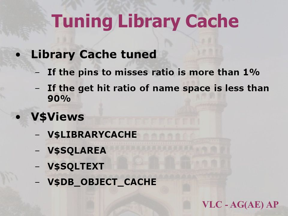 Tuning Library Cache Library Cache tuned V$Views